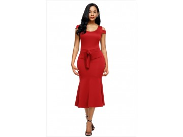 Vestido Recorte no Ombro Babado com Laço Frontal - Vermelho