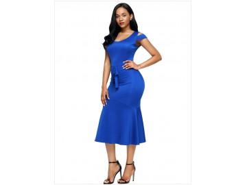 Vestido Recorte no Ombro Babado com Laço Frontal - Azul