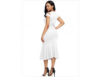 Vestido Recorte no Ombro Babado com Laço Frontal - Branco