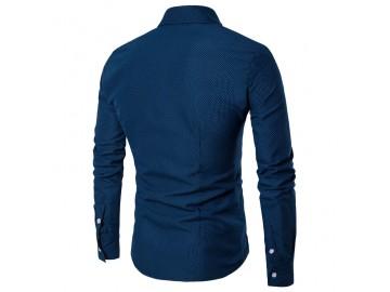 Camisa Masculina Slim Fit  Point Poás Manga longa - Azul Marinho