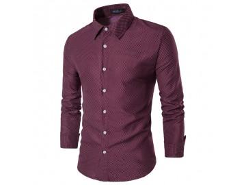 Camisa Masculina Slim Fit  Point Poás Manga longa - Vinho