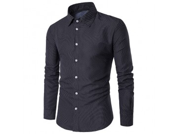 Camisa Masculina Slim Fit Point Poás Manga longa - Preto