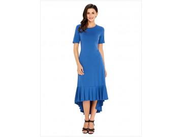 Vestido Saia Babado Manga Curta - Azul