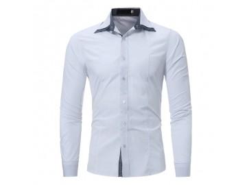 Camisa Masculina Slim Fit Cotoveleira Manga longa - Branco