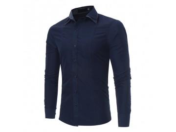 Camisa Masculina Slim Fit Cotoveleira Manga longa - Azul Marinho