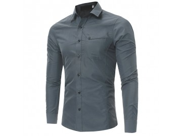 Camisa Masculina Slim Manga Longa - Cinza Escuro
