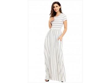 Vestido Longo Listrado com Bolso Manga Curta - Branco