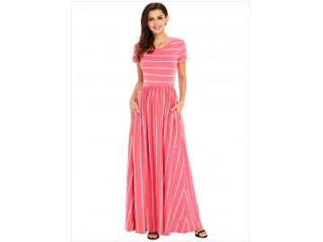 Vestido Longo Listrado com Bolso Manga Curta - Rosa
