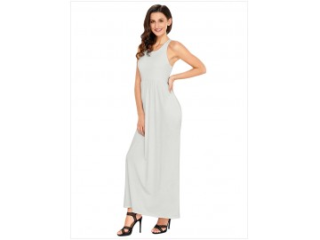 Vestido Longo com Alça e Bolso Lateral - Branco