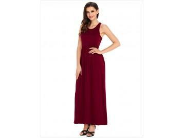 Vestido Longo com Alça e Bolso Lateral - Vinho
