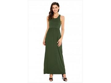Vestido Longo com Alça e Bolso Lateral - Verde Exército