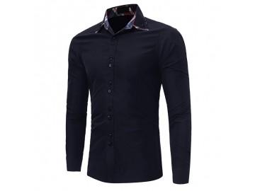 Camisa Masculina Casual Slim Manga Longa - Azul Marinho