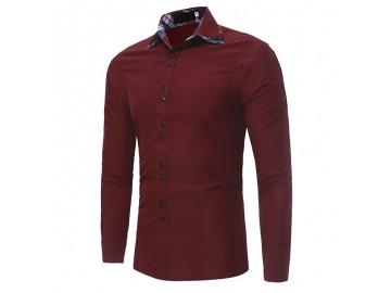 Camisa Masculina Casual Slim Manga Longa - Vermelho Escuro