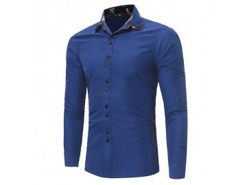 Camisa Masculina Casual Slim Manga Longa - Azul Royal