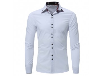 Camisa Masculina Casual Slim Manga Longa - Branco
