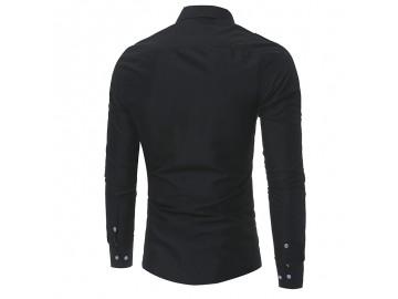 Camisa Masculina Slim Bolso Duplo Manga Longa - Preto