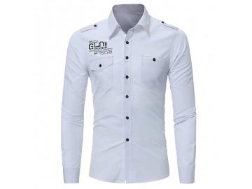 Camisa Masculina Slim Bolso Duplo Manga Longa - Branco