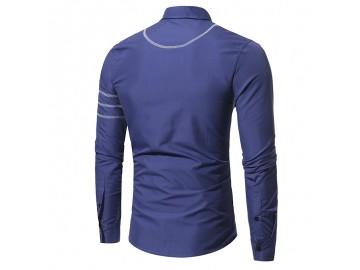Camisa Masculina Slim Costura Manga Longa - Azul Marinho