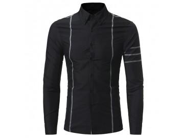 Camisa Masculina Slim Costura Manga Longa - Preto