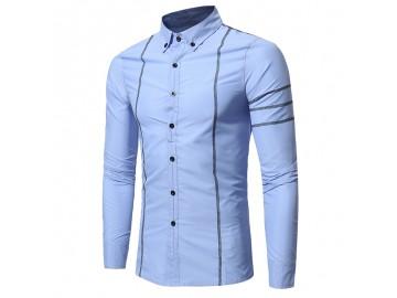 Camisa Masculina Slim Costura Manga Longa - Azul Claro