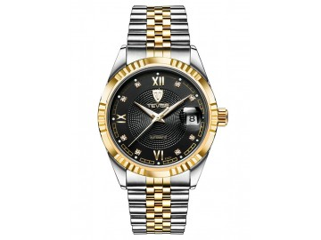 Relógio Tevise T629-003 Masculino Automático Pulseira de Aço - Preto e Dourado