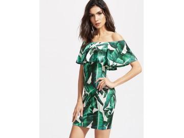 Vestido Curto Estampado Tomara que Caia - Verde