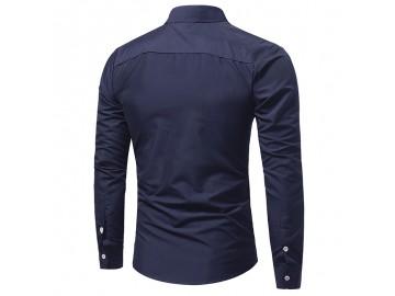 Camisa Masculina Slim Bolso Duplo Manga Longa - Azul Marinho