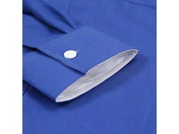 Camisa Masculina Slim Manga Longa - Azul Safira
