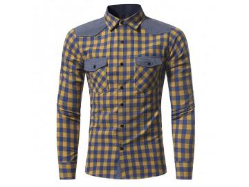 Camisa Masculina Slim Xadrez Manga Longa - Amarelo