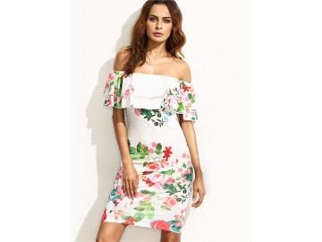 Vestido Curto Floral Tomara que Caia - Branco