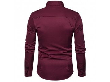 Camisa Masculina Slim Assimétrica Manga Longa - Vinho