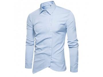 Camisa Masculina Slim Assimétrica Manga Longa - Azul Claro