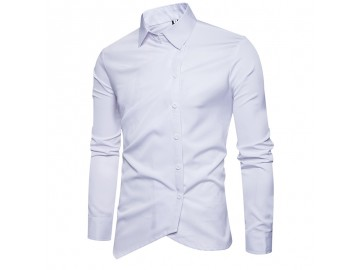 Camisa Masculina Slim Assimétrica Manga Longa - Branco