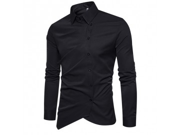 Camisa Masculina Slim Assimétrica Manga Longa - Preto