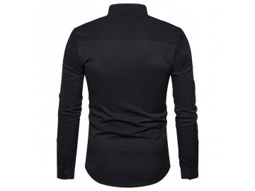 Camisa Masculina Slim Assimétrica Gola V Manga Longa - Preto