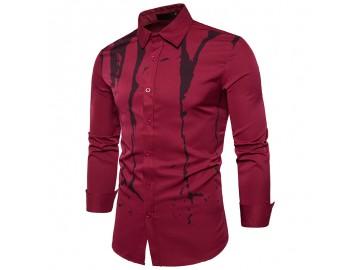 Camisa Masculina Slim Com Manchas Manga Longa - Vinho