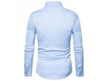 Camisa Masculina Slim Com Manchas Manga Longa - Azul Claro