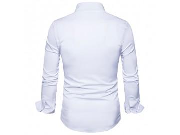 Camisa Masculina Slim Com Manchas Manga Longa - Branco
