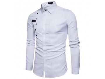Camisa Masculina Slim Com Botões Laterais Manga Longa - Branco