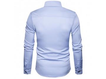 Camisa Masculina Slim Com Botões Laterais Manga Longa - Azul Claro