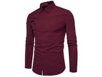 Camisa Masculina Slim Com Botões Laterais Manga Longa - Vinho