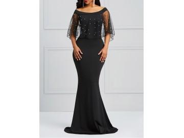 Vestido Longo Elegante Tule - Preto