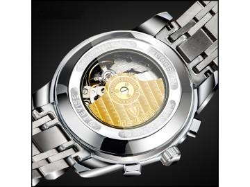 Relógio Tevise T9005 Masculino Automático Pulseira de Aço - Branco e Dourado