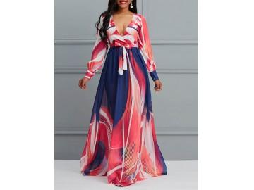 Vestido Longo Elegante Estampado com Decote V Manga Longa