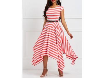 Vestido Assimétrico Rodado Listrado - Vermelho