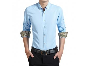 Camisa Masculina Slim Manga Longa - Azul Claro
