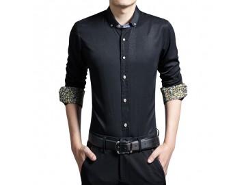 Camisa Masculina Slim Manga Longa - Preto