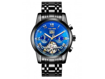 Relógio Tevise T9005 Masculino Automático Pulseira de Aço - Preto e Azul