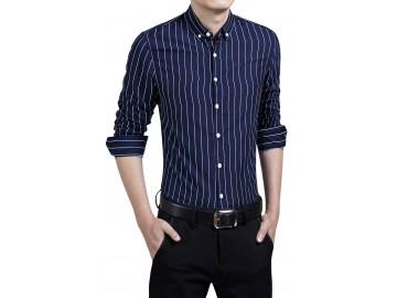 Camisa Masculina Slim Listrada Manga Longa - Azul