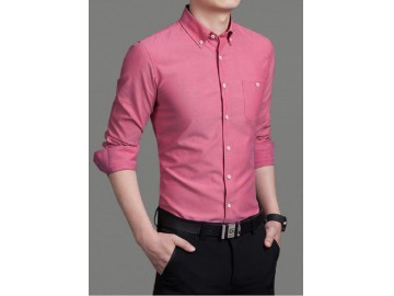 Camisa Masculina Slim Manga Longa - Rosa Escuro